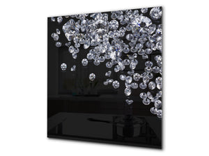Glass kitchen splashback – Glass upstand BS18 Ice cubes Series: Diamonds Black Background 2