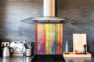 Printed Tempered glass wall art BS13 Various Series: Colorful Stripes
