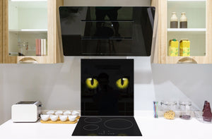 Art glass design printed glass splashback BS21A  Animals A Series:  Cat With Yellow Eyes