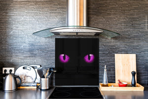 Art glass design printed glass splashback BS21A  Animals A Series:  Cat With Purple Eyes