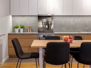 Toughened glass backsplash – BS21B  Animals B Series: Elephants In The Field