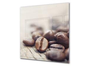 Printed Tempered glass wall art BS05A Coffee A Series: Coffee Beans 1