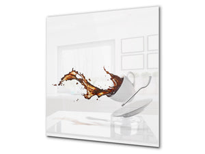Printed Tempered glass wall art BS05A Coffee A Series: Coffee Spilled Coffee Spoon