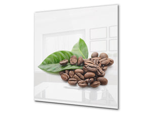 Printed Tempered glass wall art BS05B Coffee B Series: Coffee Beans Leaf 1