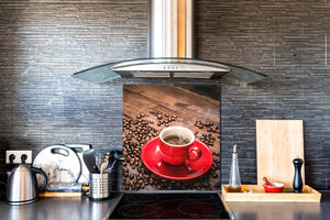 Printed Tempered glass wall art BS05B Coffee B Series: Red Cup 2