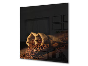 Printed Tempered glass wall art BS05B Coffee B Series: Coffee In Sacks