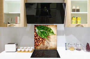 Printed Tempered glass wall art BS05B Coffee B Series: Coffee Beans Leaf 2