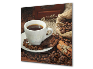 Printed Tempered glass wall art BS05B Coffee B Series: Cup With Coffee 2