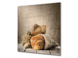 Glass kitchen backsplash BS22 Bakery products Series: Wheat Bread Bread 7