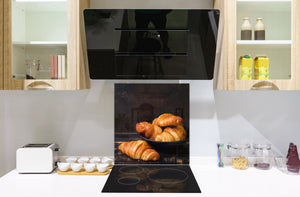 Glass kitchen backsplash BS22 Bakery products Series: Croissant Bread 3