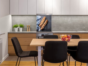 Glass kitchen backsplash BS22 Bakery products Series: Baguette Bread
