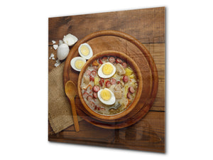 Printed tempered glass backsplash – BS23 European tradicional food Series: Sour Soup With Egg  1