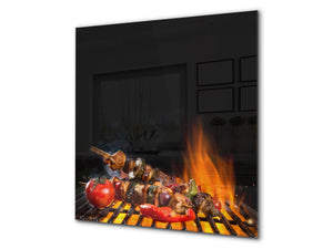 Printed tempered glass backsplash – BS23 European tradicional food Series: Shashlik Grill 1