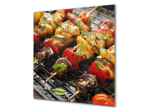 Printed tempered glass backsplash – BS23 European tradicional food Series: Shashlik Grill 3