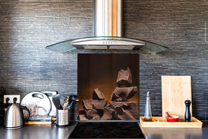 Tempered glass Cooker backsplash BS07 Desserts Series: Chocolate Brown