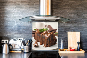 Tempered glass Cooker backsplash BS07 Desserts Series: Chocolate Cake