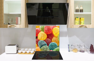Stunning printed Glass backsplash BS06 Pastries and sweets: Colored Jellies