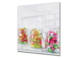 Stunning printed Glass backsplash BS06 Pastries and sweets: Candy In A Jar