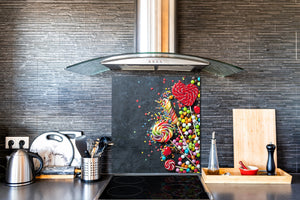 Stunning printed Glass backsplash BS06 Pastries and sweets: Scattered Sweets