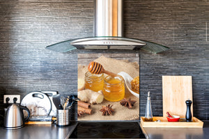 Stunning printed Glass backsplash BS06 Pastries and sweets: Honey Cinnamon Anise