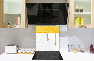 Stunning printed Glass backsplash BS06 Pastries and sweets: Dripping Honey