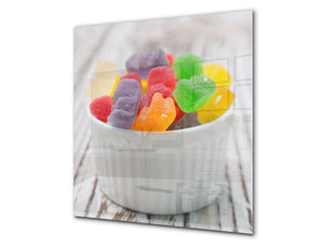 Stunning printed Glass backsplash BS06 Pastries and sweets: Colorful Jelly Beans 1