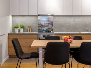 Tempered glass kitchen wall panel BS24 Bridges Series: City Panorama 19
