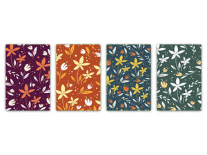 Chopping Board Set – Non-Slip Set of Four Chopping boards; MD06 Flowers Series:Vector flowers