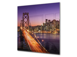 Tempered glass kitchen wall panel BS24 Bridges Series: City Bridge 3