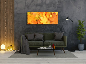 "Wall Art Glass Print Picture 125 x 50 cm (≈ 50"" x 20"") ; Leaves 4"