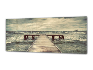 "Wall Art Glass Print Picture 125 x 50 cm (≈ 50"" x 20"") ; Pier 10"