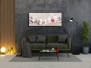 "Wall Art Glass Print Picture 125 x 50 cm (≈ 50"" x 20"") ; Flowers 17"