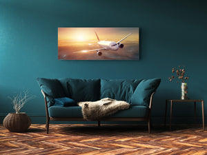 "Glass Print Wall Art – Image on Glass 125 x 50 cm (≈ 50"" x 20"") ; Plane"