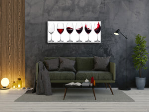 "Glass Print Wall Art – Image on Glass 125 x 50 cm (≈ 50"" x 20"") ; Wine"