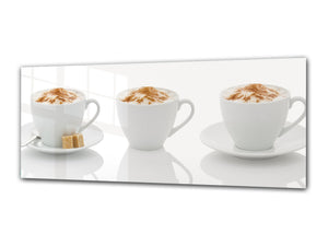 "Glass Print Wall Art – Image on Glass 125 x 50 cm (≈ 50"" x 20"") ; Coffee 2"