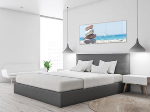 "Glass Print Wall Art – Image on Glass 125 x 50 cm (≈ 50"" x 20"") ; Stones"