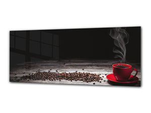 "Glass Print Wall Art – Image on Glass 125 x 50 cm (≈ 50"" x 20"") ; Coffee 1"