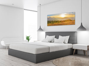 "Wall Art Glass Print Picture 125 x 50 cm (≈ 50"" x 20"") ; Mountains 7"