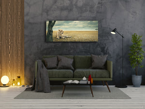"Wall Art Glass Print Picture 125 x 50 cm (≈ 50"" x 20"") ; Lion"