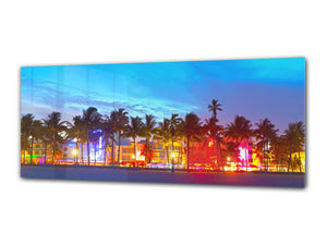 "Wall Art Glass Print Picture 125 x 50 cm (≈ 50"" x 20"") ; Palm Trees 2"