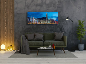 "Wall Art Glass Print Picture 125 x 50 cm (≈ 50"" x 20"") ; City by night 15"