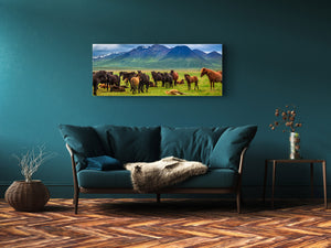 "Wall Art Glass Print Picture 125 x 50 cm (≈ 50"" x 20"") ; Horses 3"