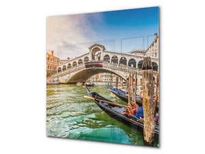 Tempered glass kitchen wall panel BS24 Bridges Series: Rialto Bridge In Venice 3