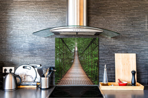 Tempered glass kitchen wall panel BS24 Bridges Series: Bridge On Ropes 2