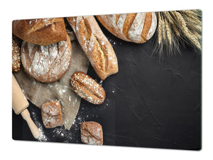 HUGE TEMPERED GLASS CHOPPING BOARD – Bread and flour series DD09 Fresh bread 11