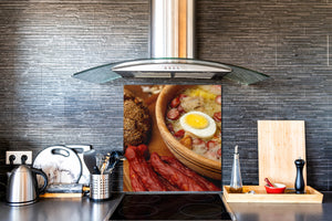 Printed tempered glass backsplash – BS23 European tradicional food Series: Sour Soup With Egg  2
