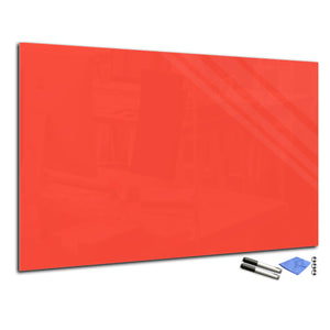 Magnetic Dry-Erase Glass Board Large or Small orange red