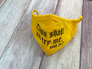 "Adult 100% Cotton ""Thou shall not try me"" Face Mask"