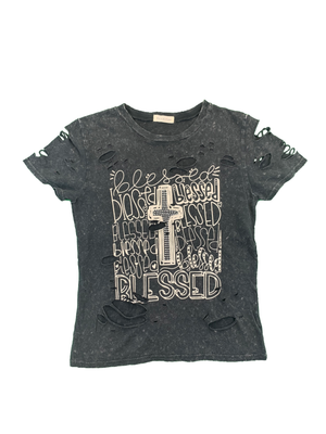 "Load image into Gallery viewer, ""Blessed"" Destructed Short Sleeve"