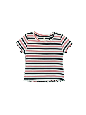 Striped Rib Lettuce Edge Short Sleeve